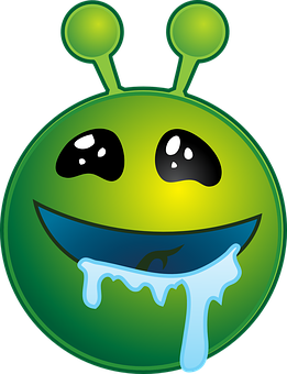 Drooling, Alien, Green, Smiley, Face, Drool, Emoticon