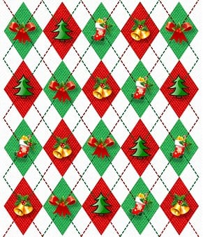 Christmas, Decorations, Argyle, Green, Red, Fabric