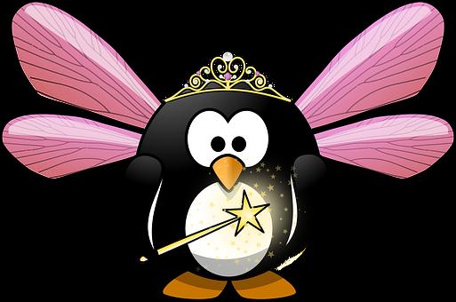 Tux, Animal, Bird, Cute, Crown, Elf, Fairy, Fairy Dust