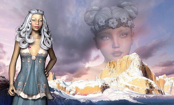 Ice Queen, Woman, Fantasy, Hair, Frozen, Sky, White