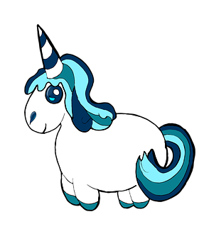 Unicorn, Clipart, Blue, Pony, Cute, Fluffy, Animal, Pet
