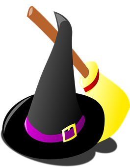 Witch Hat, Broom, Costume, Halloween, Black, Magic