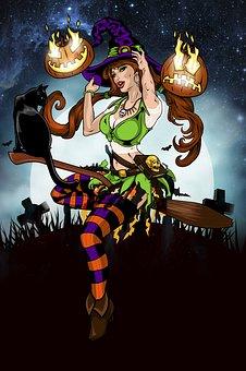 Witch, Cat, Illustration, Women, Art, Hat, Modern Witch