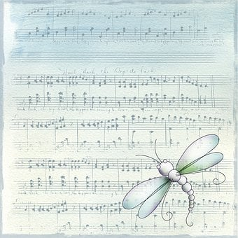 Vintage, Blue, Music, Notes, Sheet Music, Background