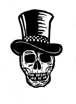 Skull, Skulls, Skeleton, Top Hat, Body Parts, Sketch