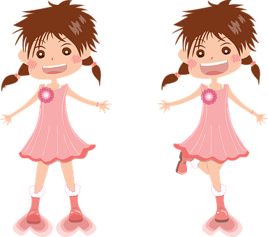 Girls, Laugh, Cuteness, Color, Vector Image
