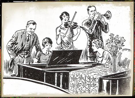 Band, Violin, Vintage, Piano, Lesson, Note, Music