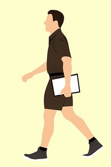 Man, Worker, Mover, Walking, Holding, Shorts, Sneakers