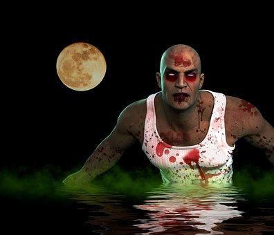 Zombie, Monster, Death, Blood, Fear, Night, Water