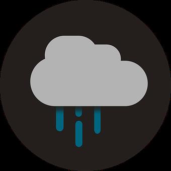 Rain, Icon, Flat, Flat Design, Weather, Storm, Clouds