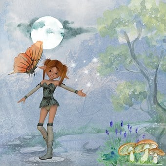 Fantasy, Fairytale, Fairy, Girl, Dress, Woods, Dark