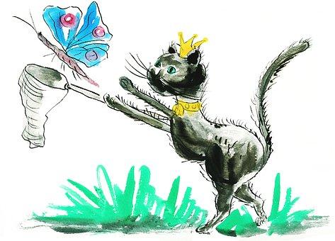 Cat, Animals, Domestic Cat, Butterfly, Catch, Mieze