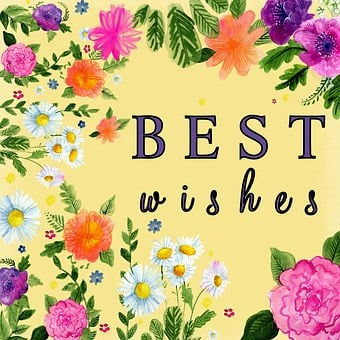 Best Wishes, Yellow, Flower, Greeting, Card, Wishes