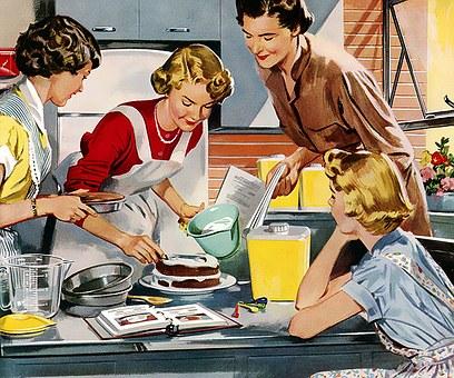 Retro, Vintage, Home, Cake, Dessert, Decorating, Icing