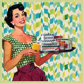 Retro, Woman, Kitchen, Housewife, Frozen, Goods