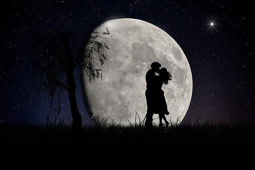 Moon, Lovers, Moonscape, Love, Romantic, Couple