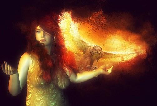 Fire, Owl, Woman, Nature, Bird, Light, Dark, Night