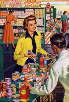 Retro, Vintage, Woman, Shopping, Groceries, Store