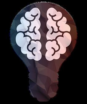 Science, Brain, Bulb, 3d, Poly, Triangle, Lights