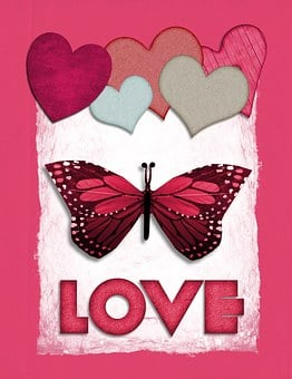 Valentine, Butterfly, Love, Heart, Abstract, Pink