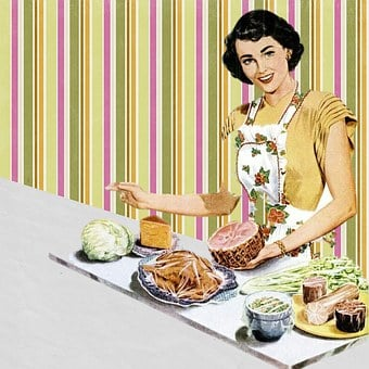 Retro, Housewife, Vintage, Collage, Art, Cooking, Woman