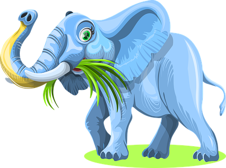 Elephant, Grass, Eating, Animal, Mammal, Wildlife