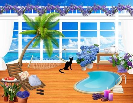Balcony, Veranda, Summer, Flowers, Black Cat, Seaside