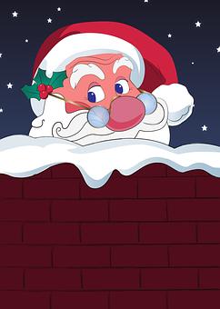 Santa, Chimney, Ho Ho Ho, Holiday, Christmas, Claus
