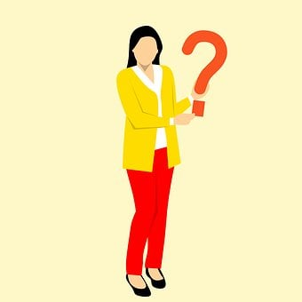Ask, Question, Lady, Full, Holding, Mark, Attractive