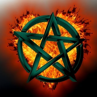 Pentagram, Symbol, Green, Fire, Mystical