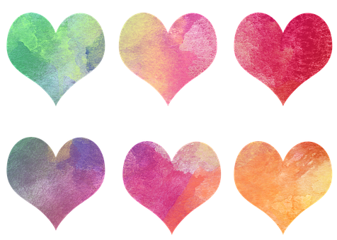 Hearts, Colorful, Watercolor, Valentine, Pink, Orange