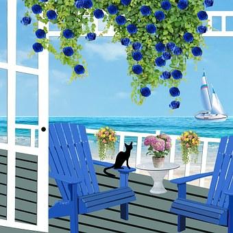 Patio, Veranda, Chairs, Rattan Furniture, Seaside