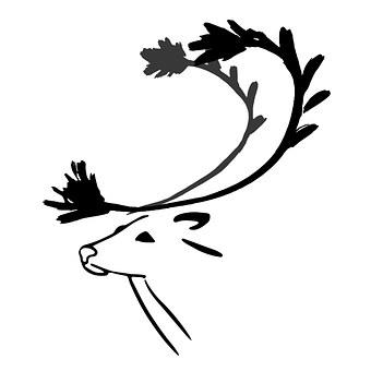 Reindeer, Animals, Wild, Isolated, Vector, Ink