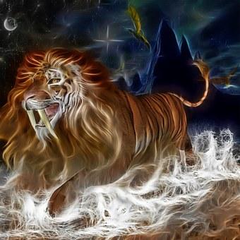 Lion, Tiger, Cat, Sky, River, Rocks, Fantasy