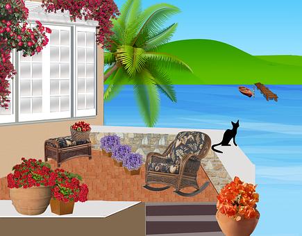 Balcony, Patio, Summer, Chairs, Flowers, Armchairs