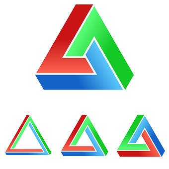 Impossible, Penrose, Triangle, Logo, 3d, Optical