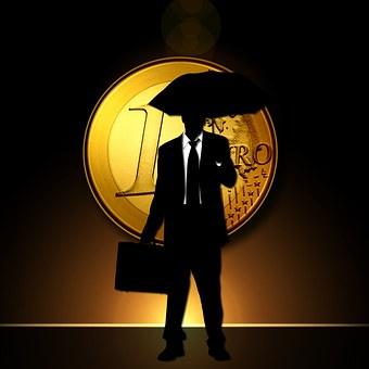 Euro, Coins, Man, Silhouette, Umbrella