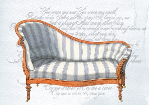 Vintage, Victorian, French, Chair, Lounge, Blue, White