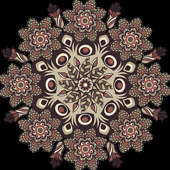 Mandala, Pattern, Round, Brown, Floral, Vintage