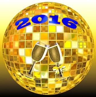 Happy New Year, 2016, Celebration, Champagne, Glasses