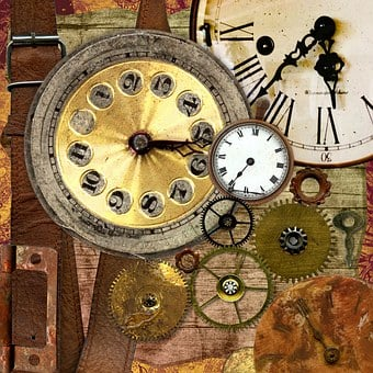 Clocks, Background, Paper, Texture, Collage, Leather