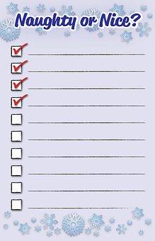 Checklist, Santa, Christmas, Holiday, Naughty, Nice