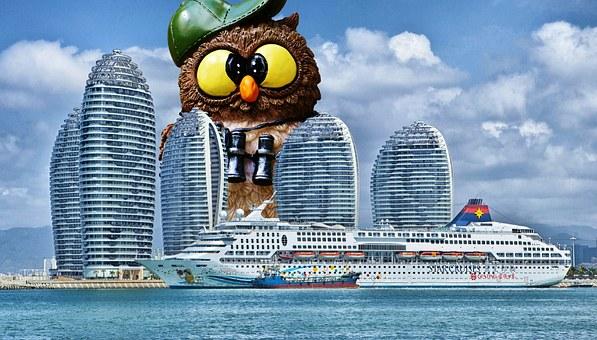 Tourist, Owl, Giant, Funny, Cruise Ship, Ship, Hainan