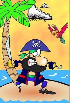 Captain Hook, Parrot, Island, Hook, Pirate, Stranded