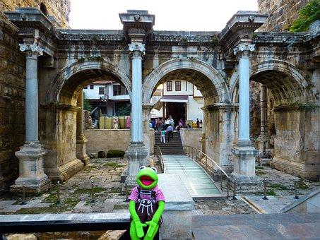 Hadrian's Gate, Antalya, Building, Turkey, Kermit, Frog