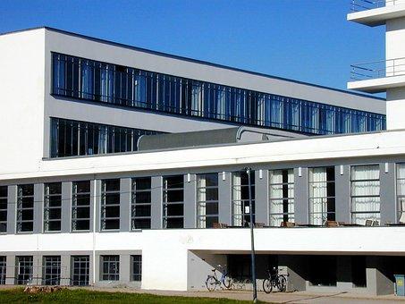 Bauhaus, Dessau, Architecture, Building, Sky, Blue