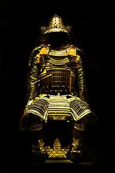Samurai, Gold, Armour, Statue