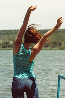 Freedom, Happiness, Back Side, Woman, Young, Girl