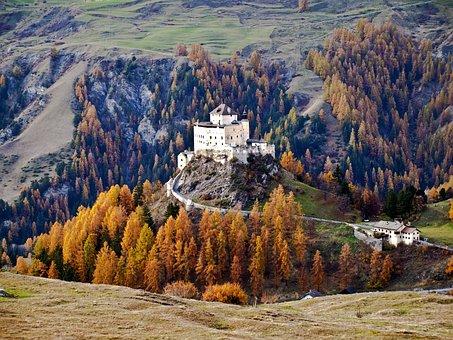 Castle, Tarasp, Lower Engadin, Switzerland, Autumn