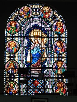 Stained Glass, Church, Santo, Window, Colorful
